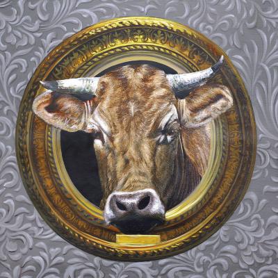 peinture sur toile de vache retro