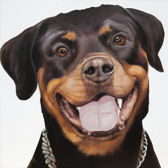 portrait animal Rottweiler peinture