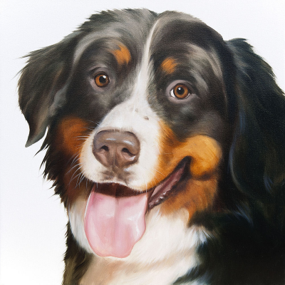 peinture chien Saint - Bernard