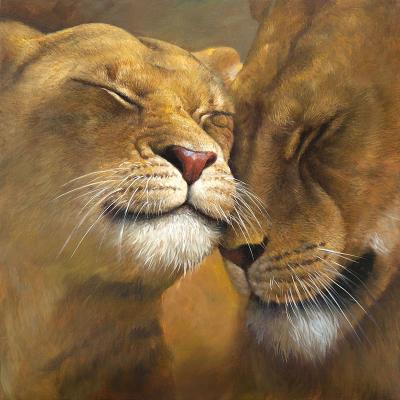 peinture d'un couple de lions