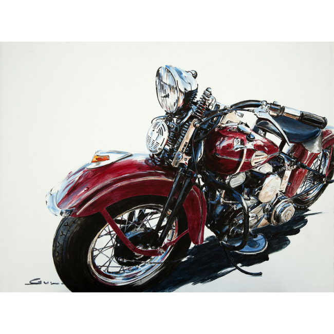 peinture sur toile d une moto harley davidson en vente sur lookisfree. Black Bedroom Furniture Sets. Home Design Ideas