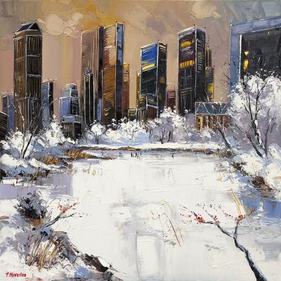 peinture central park hiver - Fabien Novarino