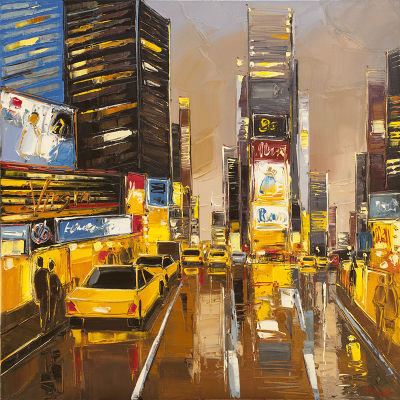 Times Square Lights New York  - peinture Fabien Novarino