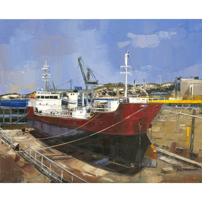 cargo au port -peinture Fabien Novarino