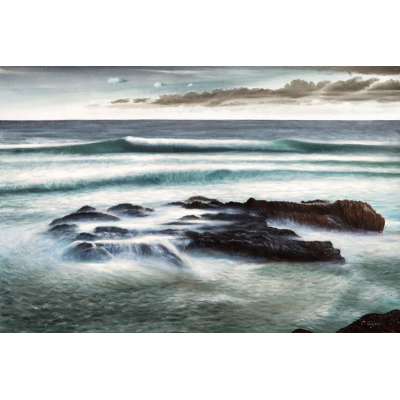 peinture de rochers dans la mer