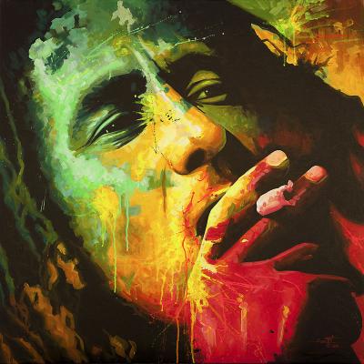 portrait Bob Marley en peinture
