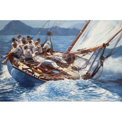 hommes sur un voilier